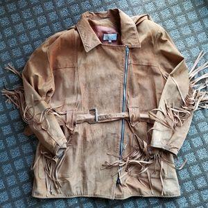 Vintage Caché brown fringe leather suede jacket M